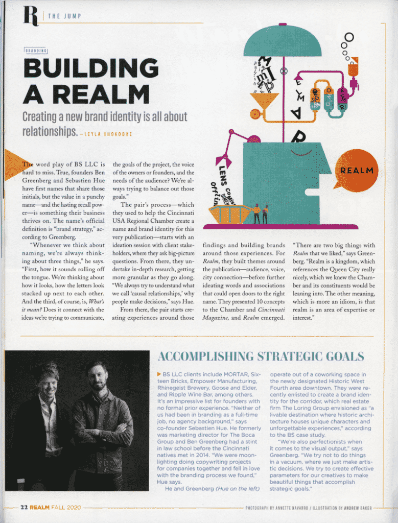 Realm Magazine, inside, BS LLC Feature